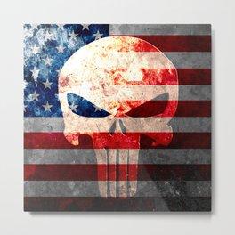 Skull and American Flag on Distressed Metal Metal Print
