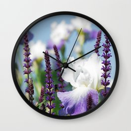Summer Garden with Blue sky and lavender Wall Clock