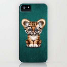 Cute Baby Tiger Cub Wearing Eye Glasses on Teal Blue iPhone Case