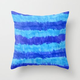 Blue Striped Ombre Gradient Throw Pillow