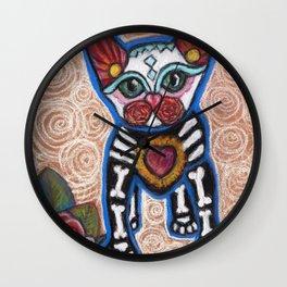 Aztec Kitten day of Dead Wall Clock