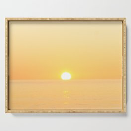 Peachy sunrise seascape Serving Tray
