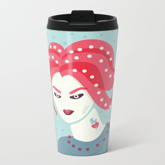 Portrait Of A Girl With Pink Hair Metal Travel Mug