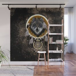 Indian Native Gray Wolf Dreamcatchers Wall Mural