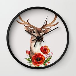 Deer with flowers 2 Wall Clock
