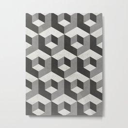 Geometric Cube Pattern 2 - Black, White, Grey Metal Print