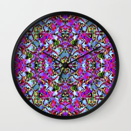 Multicolored Abstract Collage Pattern Wall Clock