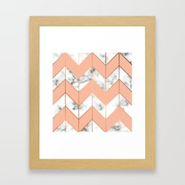 WHITE MARBLE WITH GOLD AND ROSE CHEVRON Framed Art Print