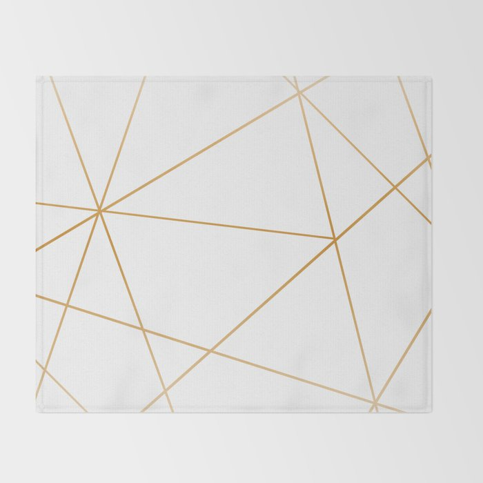 geometric gold and white Throw Blanket
