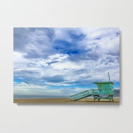 Zuma Beach Lifeguard Chair 10 in Malibu Metal Print