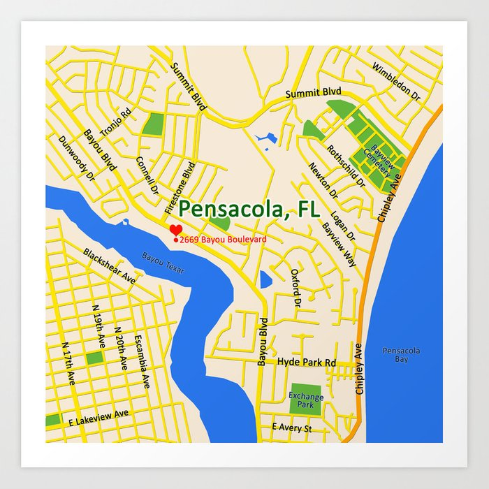 Map Of Pensacola Florida.Map Of Pensacola Fl Art Print By Efratul Society6