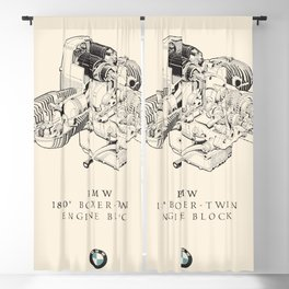 Boxer-twin engine, technical drawing, motorcycle print, vintage garage poster, man cave wall art Blackout Curtain