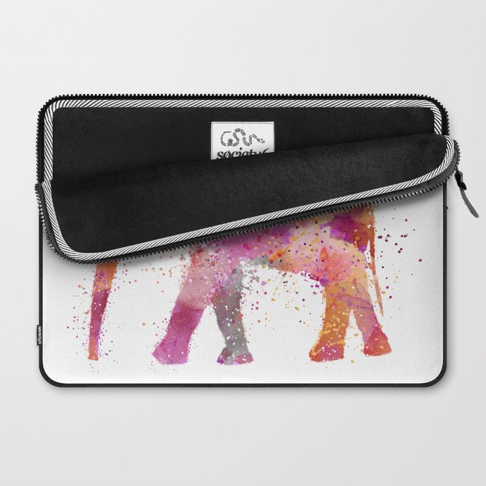 Artsy watercolor Elephant bright orange pink colors Laptop Sleeve