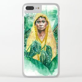 Woman in Yellow Sari Clear iPhone Case