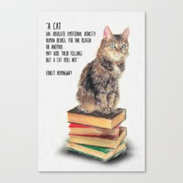 Cat Quote By Ernest Hemingway Canvas Print
