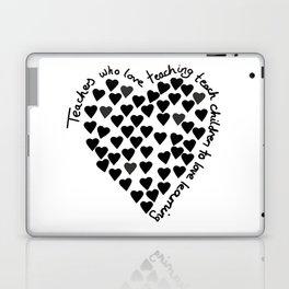 Hearts Heart Teacher Black on White Laptop & iPad Skin