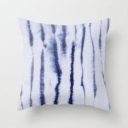 Indigo Ink Washed Lines Throw Pillow