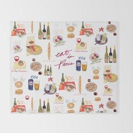 Paris Food Map Throw Blanket
