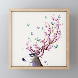 Deer and Flowers II Framed Mini Art Print