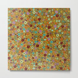 Playful Watercolor dots pattern - Gold Metal Print