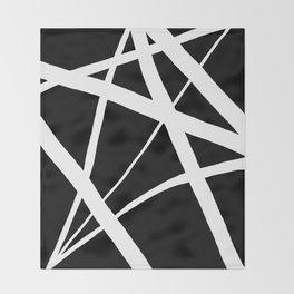Geometric Line Abstract - Black White Throw Blanket