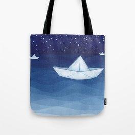 Paper boats illustration Tote Bag