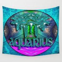 zodiac Wall Tapestries featuring Aquarius Zodiac by CAP Artwork & Design