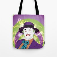 1989 Tote Bags featuring The Joker 1989 by Nile