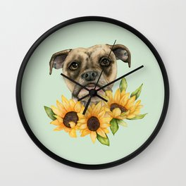 Cheerful | Bulldog Mix with Sunflowers Watercolor Painting Wall Clock