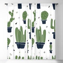 Cactus Plants Pattern- Green Blackout Curtain