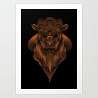beauty and the beast Art Prints featuring Beast by AngelaBardakjian