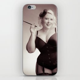 """Of Corset Darling"" - The Playful Pinup - Vintage Corset Pinup Photo by Maxwell H. Johnson iPhone Skin"