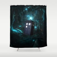 marauders Shower Curtains featuring Flying Tardis on Space by Electra