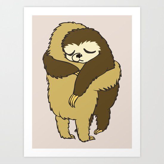Sloth Hugs Art Print
