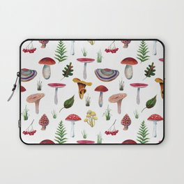 Mushrooms, leaves, grass, mountain ash. Drawn with colored pencils. Laptop Sleeve
