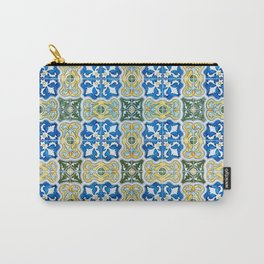 Seamless Floral Pattern Ornamental Tile Design : 6  blue, yellow Carry-All Pouch