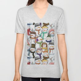 Happy Snowmen Pattern Unisex V-Neck