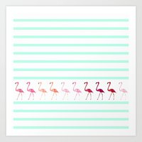 flamingos Art Prints featuring FLAmINGOs by Monika Strigel