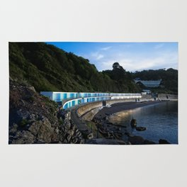 Meadfoot Imposing Cliffs And Beach Huts Rug