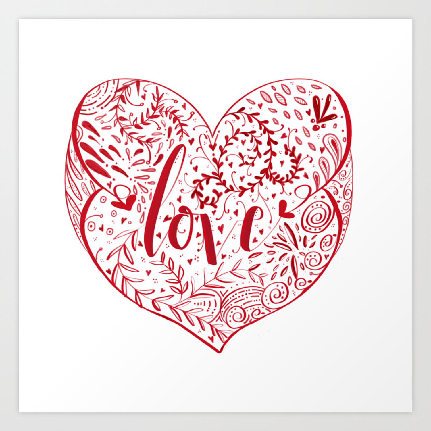 Heart Doodles Of Love Art Print By Mumzee Society6