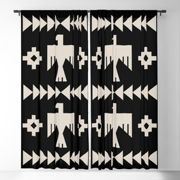 Southwestern Eagle and Arrow Pattern 121 Black and Linen White Blackout Curtain