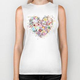 Heart of flowers and butterflies Biker Tank