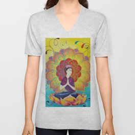 Frida Transcending Mandala and Lotus Blossom Unisex V-Neck