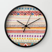 shapes Wall Clocks featuring Pattern by Sandra Dieckmann