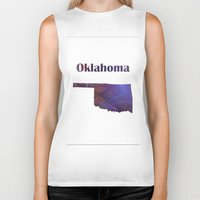 oklahoma Biker Tanks featuring Oklahoma Map by Roger Wedegis