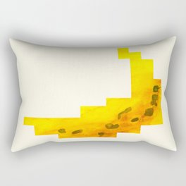 Yellow Banana Watercolor Geometric Fruit Hard Edge Pixel Art Rectangular Pillow