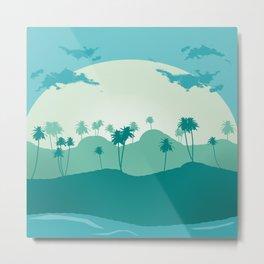 Lonely palms on tropic beach Metal Print