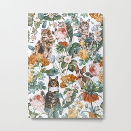 Cat and Floral Pattern III Metal Print