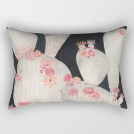 Cacti and flowers in the Night Rectangular Pillow
