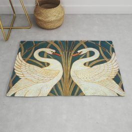 Walter Crane Swan, Rush And Iris Rug